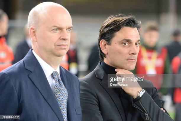 Marco Fassone Head coach Vincenzo Montella of AC Milan look in a prior to the Serie A match between AC Chievo Verona and AC Milan at Stadio...