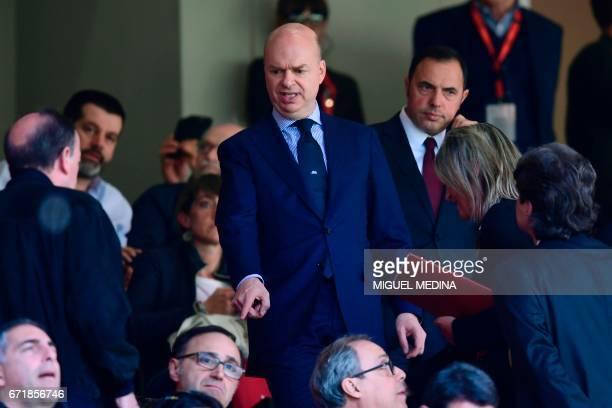 Marco Fassone new Ceo of AC Milan is seen in the stands during the Italian Serie A football match AC Milan vs Empoli at the San Siro stadium in Milan...