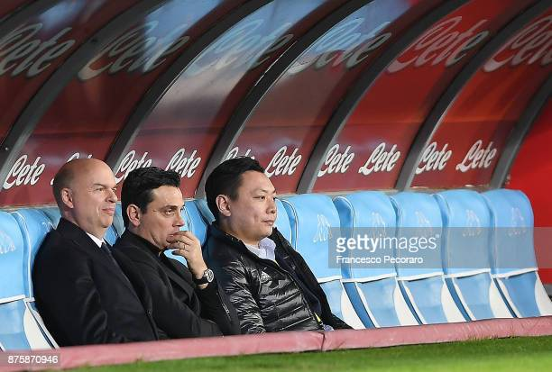 Marco Fassone the ad of AC Milan Vincenzo Montella the coach of AC Milan and David Han Li the executive director of AC Milan sitting on the bench...