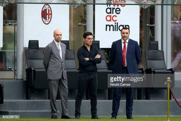 Marco Fassone Vincenzo Montella and Massimiliano Mirabelli of AC Milan look on prior to the UEFA Europa League qualifier football match between AC...