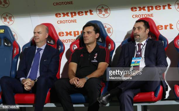 Marco Fassone Vncenzo Montella and Massimiliano Mirabelli of Milan during the Serie A match between FC Crotone and AC Milan on August 20 2017 in...