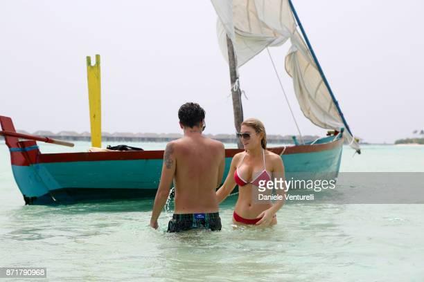 Marco Ferrero and Hofit Golan are seenat Hideaway Beach Resort Spa on November 8 2017 in Male Maldives