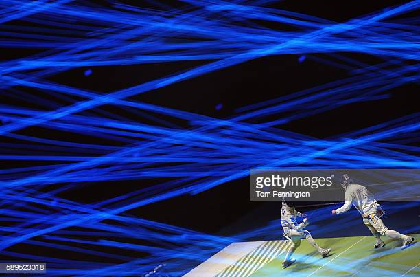 Marco Fichera of Italy competes against Bogdan Nikishin of Ukraine during the Men's Epee Team Semifinals on Day 9 of the Rio 2016 Olympic Games at...