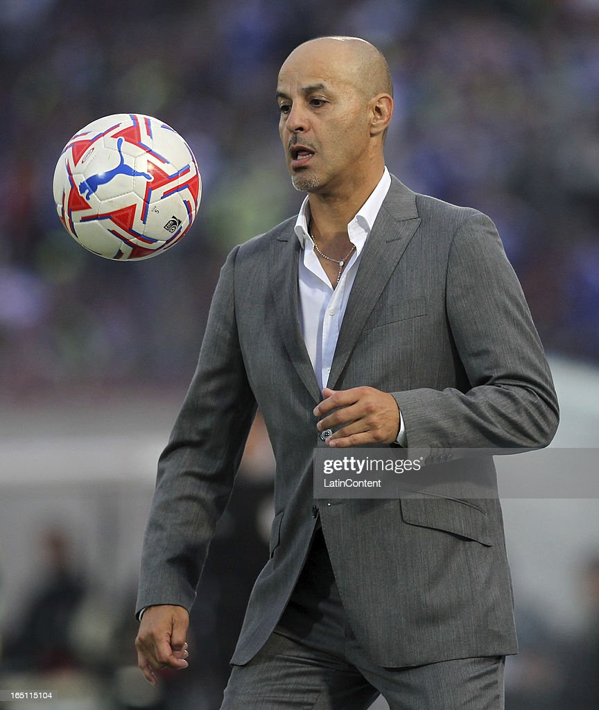 Marco Figueroa, coach of cobreloa, whit the ball during a match between Universidad de Chile and Cobreloa as part of the Torneo Transicion 2013 at Estadio Nacional on March 30, 2013 in Santiago, Chile.