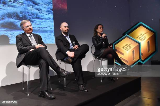 Marco Forneris Giampaolo Dedola and Chiara Cocchiara on stage at the Kaspersky Lab 20th Anniversary Party at Area Pergolesi on November 8 2017 in...