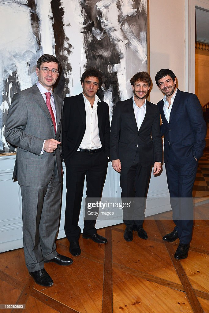 Marco Freschi, Citroen Italy Head Press Office and Public Relations, Adriano Giannini, Giorgio Pasotti and Pierfrancesco Favino attend the charity auctioning of the first 'Citroen DS3 Cabrio L'Uomo Vogue' hosted by L'Uomo Vogue and Citroen at the Permanent Mission of France to the United Nations Office on March 6, 2013 in Geneva, Switzerland.