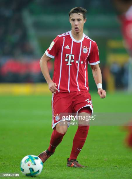 Marco Friedl of Bayern Muenchen controls the ball during the Bundesliga match between Borussia Moenchengladbach and FC Bayern Muenchen at...