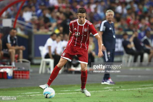 Marco Friedl of Bayern Muenchen runs with the ball during the International Champions Cup 2017 match between Bayern Muenchen and Chelsea FC at...