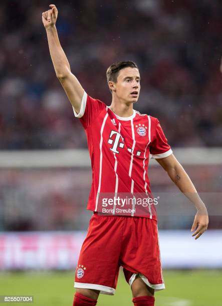 Marco Friedl of FC Bayern Muenchen gestures during the Audi Cup 2017 match between Bayern Muenchen and Liverpool FC at Allianz Arena on August 1 2017...