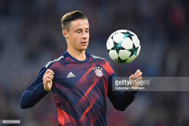 Marco Friedl of FC Bayern Muenchen plays the ball during warum up prior to the UEFA Champions League group B match between Bayern Muenchen and Celtic...