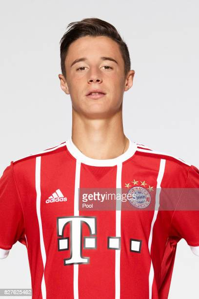 Marco Friedl of FC Bayern Muenchen poses during the team presentation at Allianz Arena on August 8 2017 in Munich Germany