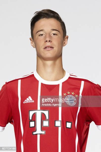 Marco Friedl of FC Bayern Munich poses during the team presentation at Allianz Arena on August 8 2017 in Munich Germany