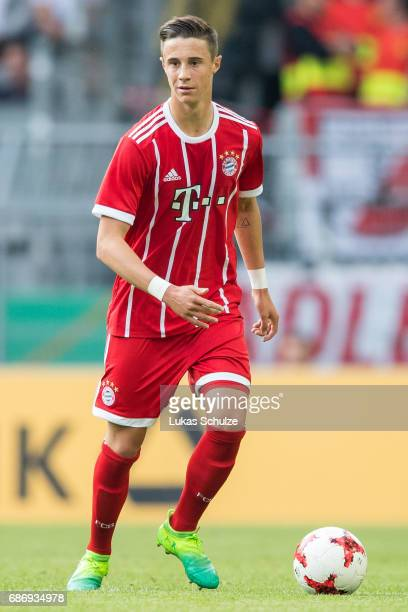 Marco Friedl of Munich kicks the ball during the U19 German Championship Final between Borussia Dortmund and FC Bayern Muenchen on May 22 2017 in...