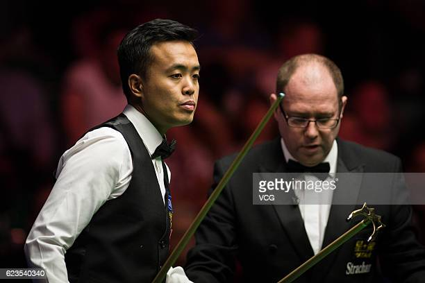 Marco Fu of Chinese Hong Kong reacts during the first round match against Ryan Day of Wales on day two of Coral Northern Ireland Open 2016 at Titanic...