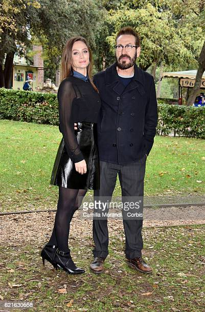 Marco Giallini and Francesca Cavallin attends the ' Rocco Schiavone' Tv movie photocall on November 7 2016 in Rome Italy