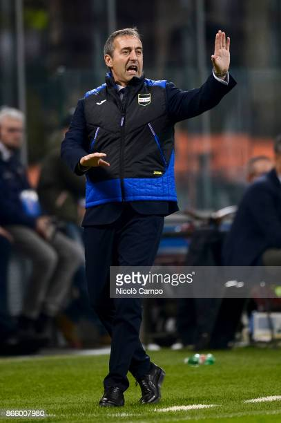 Marco Giampaolo coach of UC Sampdoria gestures during the Serie A football match between FC Internazionale and UC Sampdoria FC Internazionale won 32...