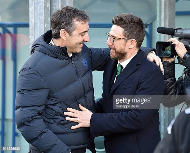 Marco Giampaolo head coach of Empoli and Eusebio Di Francesco head coach of Sassuolo prior the Serie A match between US Sassuolo Calcio and Empoli FC...