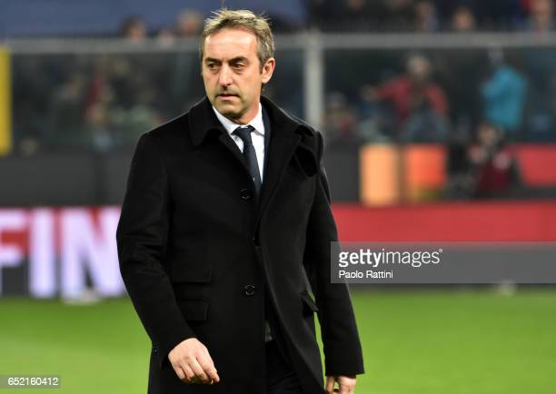 Marco Giampaolo head coach of Sampdoria during the Serie A match between Genoa CFC and UC Sampdoria at Stadio Luigi Ferraris on March 11 2017 in...