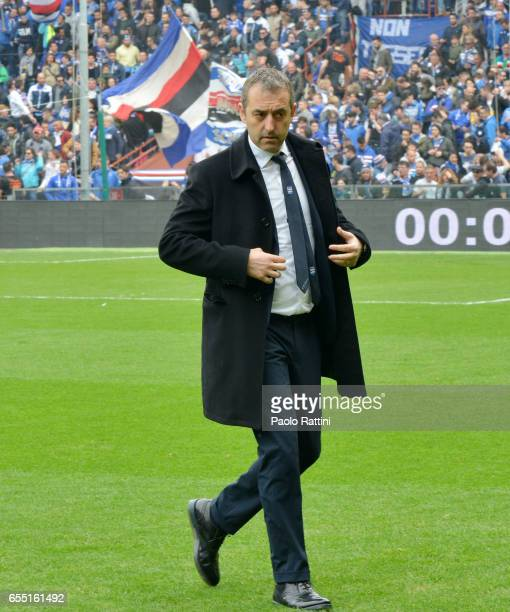 Marco Giampaolo head coach of Sampdoria during the Serie A match between UC Sampdoria and Juventus FC at Stadio Luigi Ferraris on March 19 2017 in...