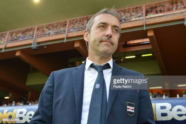 Marco Giampaolo head coach of Sampdoria during the Serie A match between UC Sampdoria and ACF Fiorentina at Stadio Luigi Ferraris on April 9 2017 in...