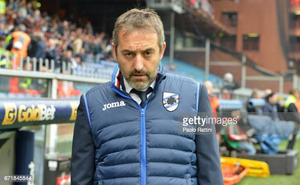 Marco Giampaolo head coach of Sampdoria during the Serie A match between UC Sampdoria and FC Crotone at Stadio Luigi Ferraris on April 23 2017 in...