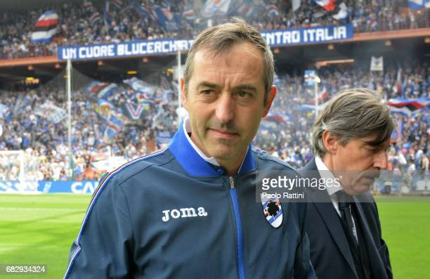 Marco Giampaolo head coach of Sampdoria during the Serie A match between UC Sampdoria and AC ChievoVerona at Stadio Luigi Ferraris on May 14 2017 in...