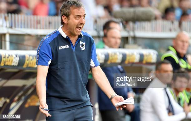 Marco Giampaolo head coach of Sampdoria during the Serie A match between UC Sampdoria and SSC Napoli at Stadio Luigi Ferraris on May 28 2017 in Genoa...
