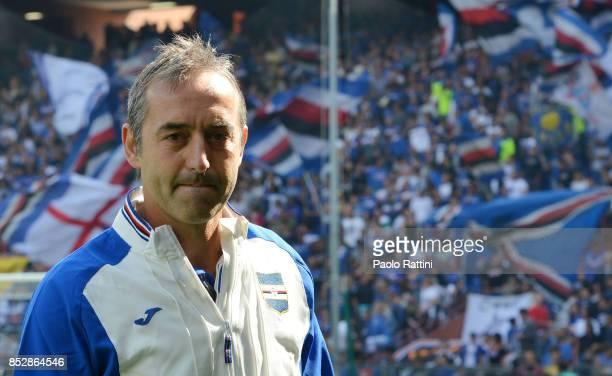 Marco Giampaolo head coach of Sampdoria during the Serie A match between UC Sampdoria and AC Milan at Stadio Luigi Ferraris on September 24 2017 in...