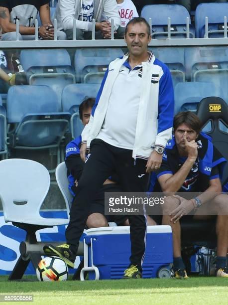 Marco Giampaolo head coach of Sampdoria during the Serie A match between UC of Sampdoria and AC of Milan at Stadio Luigi Ferraris on September 24...