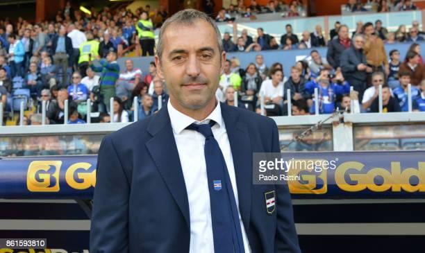 Marco Giampaolo head coach of Sampdoria during the Serie A match between UC Sampdoria and Atalanta BC at Stadio Luigi Ferraris on October 15 2017 in...