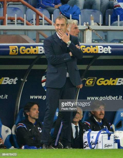 Marco Giampaolo head coach of Sampdoria during the Serie A match between UC Sampdoria and FC Crotone at Stadio Luigi Ferraris on October 21 2017 in...