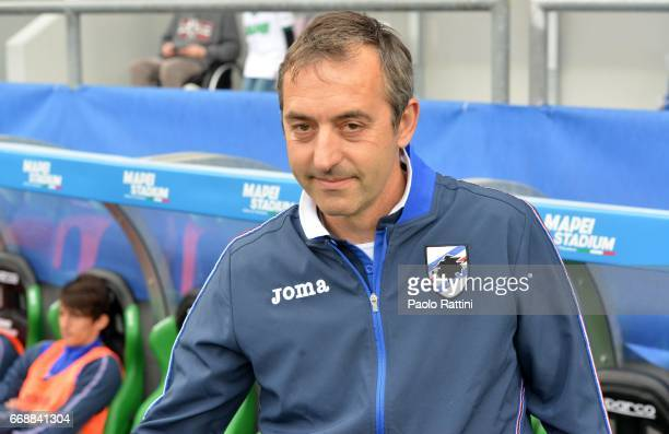 Marco Giampaolo head coach of Sampdoria during the Serie A match between US Sassuolo and UC Sampdoria at Mapei Stadium Citta' del Tricolore on April...
