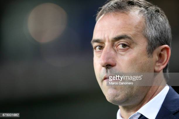 Marco Giampaolo head coach of Uc Sampdoria look on before the Serie A match between Torino Fc and Uc Sampdoria The match ended in a 11 draw