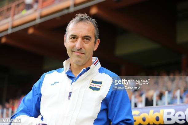 Marco Giampaolo head coach of UC Sampdoria looks on before the Serie A football match between Us Sampdoria and Ac Milan Uc Sampdoria wins 20 over Ac...