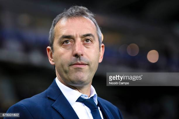Marco Giampaolo head coach of UC Sampdoria looks on prior to the Serie A football match between Torino FC and UC Sampdoria Final result is 11
