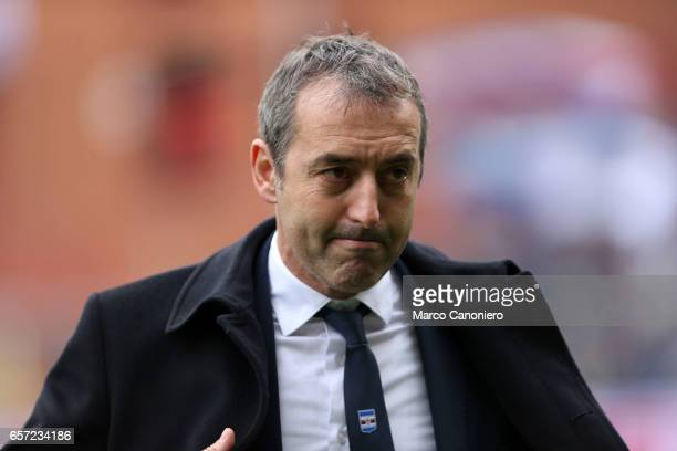Marco Giampaolo head coach of US Sampdoria looks on before the Serie A football match between UC Sampdoria and Juventus FC Juventus FC wins 10 over...