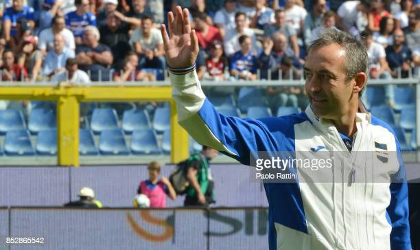 Marco Giampaolo head coch of Sampdoria during the Serie A match between UC Sampdoria and AC Milan at Stadio Luigi Ferraris on September 24 2017 in...
