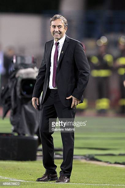 Marco Giampaolo manager of Empoli FC gestures during the Serie A match between Empoli FC and Atalanta BC at Stadio Carlo Castellani on September 24...
