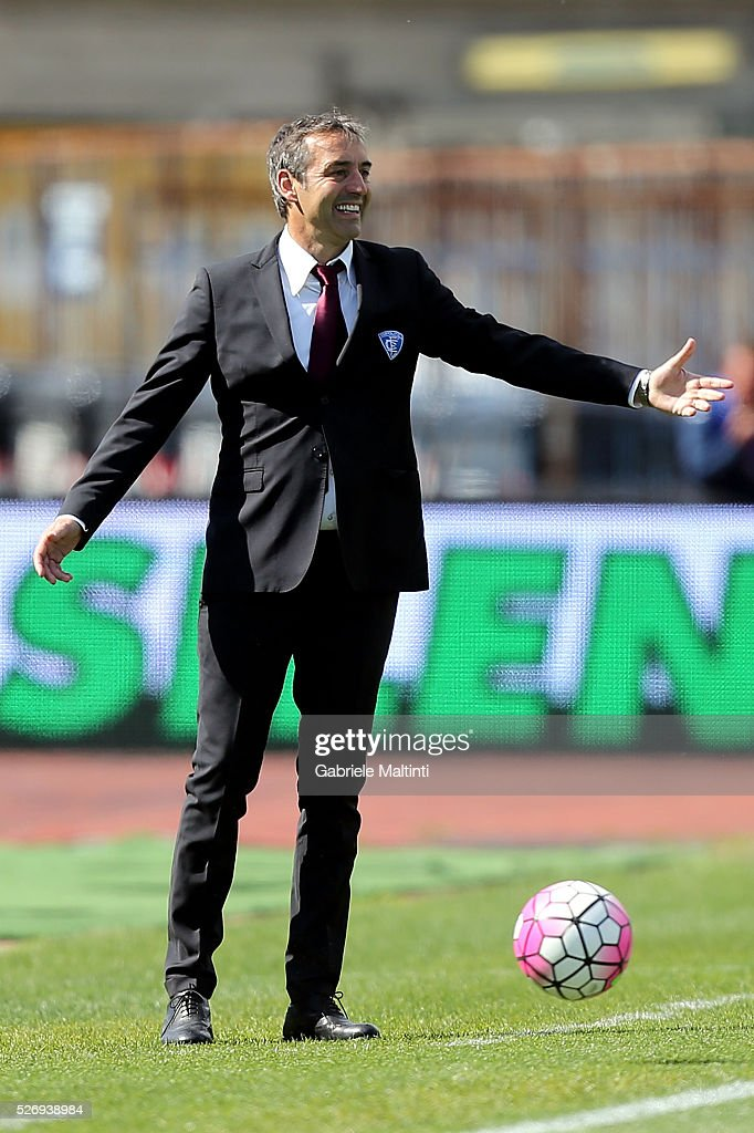 Marco Giampaolo manager of Empoli FC gestures during the Serie A match between Empoli FC and Bologna FC at Stadio Carlo Castellani on May 1, 2016 in Empoli, Italy.