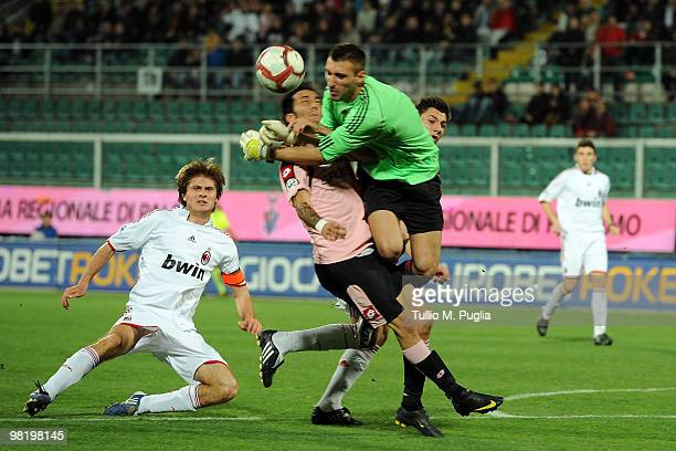 Marco Giovio of Palermo and Antonio Donnarumma goalkeeper of Milan compete for the ball during the Juvenile Tim Cup Final First Leg match between...