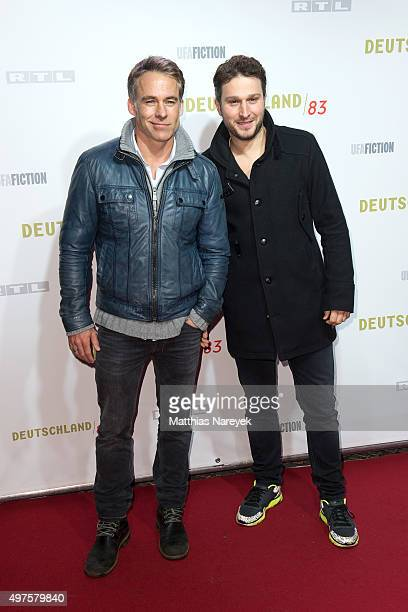 Marco Girnth and guest attend the 'Deutschland 83' premiere at Babylon on November 17 2015 in Berlin Germany