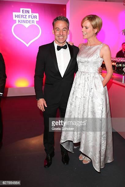Marco Girnth and Melanie Marschke are seen during the Ein Herz Fuer Kinder reception at Adlershof Studio on December 3 2016 in Berlin Germany