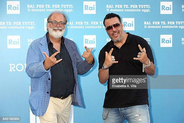 Marco Giusti and GMax attend the Rai Show Schedule Presentation at Salone Delle Fontane on July 5 2016 in Rome Italy