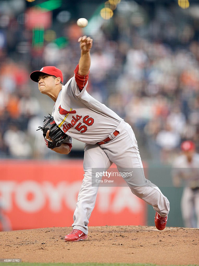 Marco Gonzales #56 of the St. Louis Cardinals pitches against the San Francisco Giants at AT&T Park on July 1, 2014 in San Francisco, California.