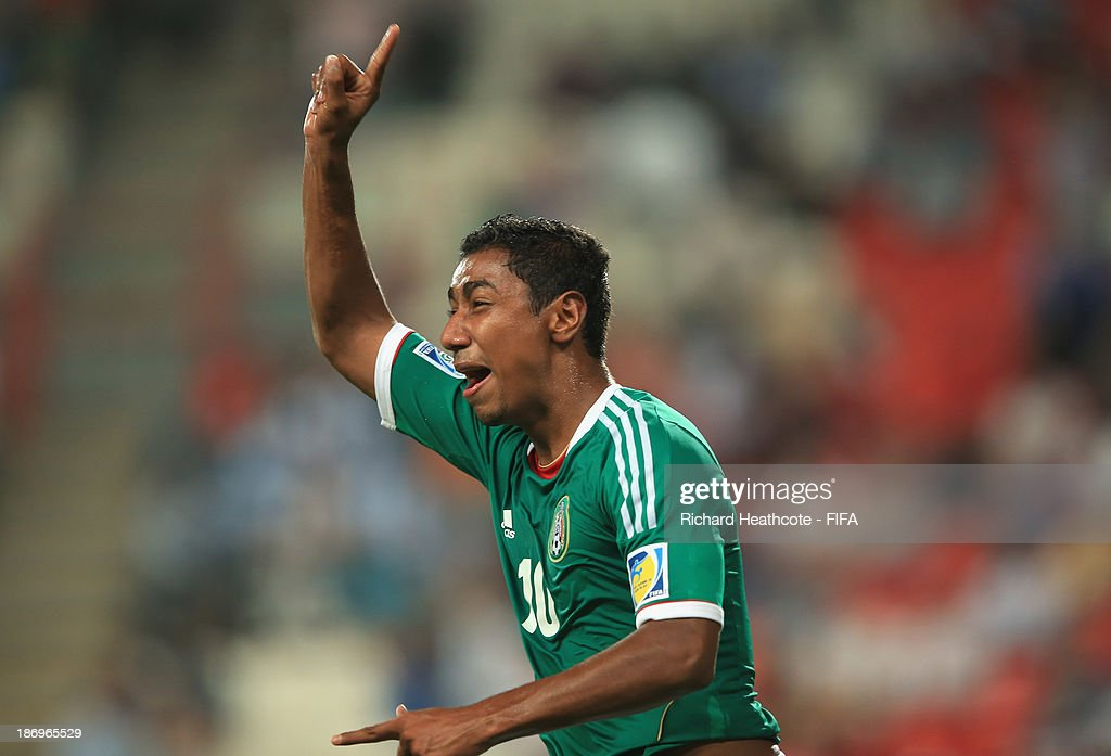 Marco Granados of Mexico celebrates scoring the third goal during the FIFA U-17 World Cup UAE 2013 Semi Final match between Argentina and Mexico at the Mohamed Bin Zayed Stadium on November 5, 2013 in Abu Dhabi, United Arab Emirates.