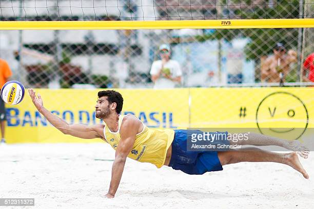 Marco Grimalt of Chile competes in the main draw match against Germany at Pajucara beach during day three of the FIVB Beach Volleyball World Tour...