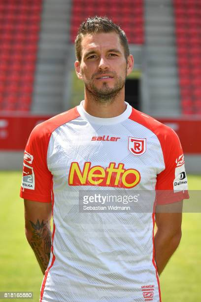 Marco Gruettner of Jahn Regensburg poses during the team presentation at Continental Arena on July 18 2017 in Regensburg Germany