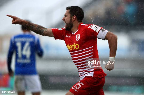 Marco Gruettner of Regensburg celebrates after he scores the opening goal during the Second Bundesliga match between SV Darmstadt 98 and SSV Jahn...