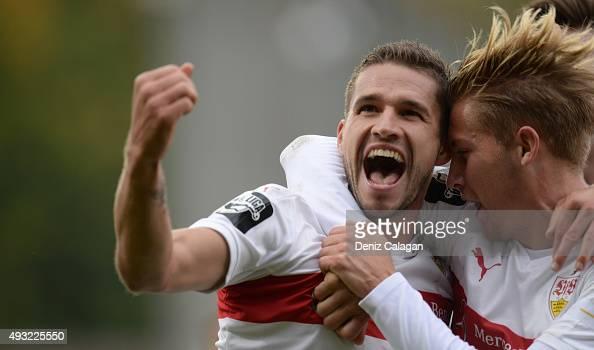 Marco Gruettner of Stuttgart II celebrates his teams first goal with Mart Ristl of Stuttgart IIduring the Third League match between VfB Stuttgart...
