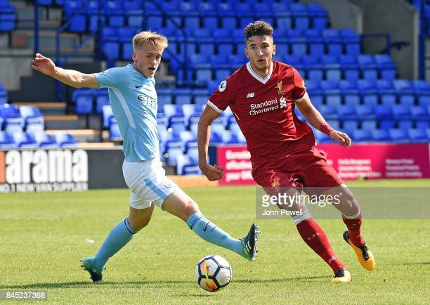 OUT Marco Grujic of Liverpool with Brahim Diaz of Manchester City during the game at Prenton Park on September 10 2017 in Birkenhead England